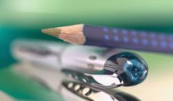 Ein Buntstift und ein Kugelschreiber vor unschaften grünen Hintergrund