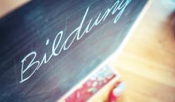Das Wort Bildung mit Kreide auf eine Tafel geschrieben